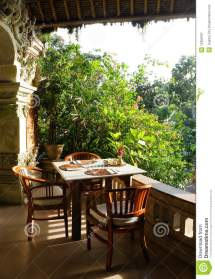 Tropical Outdoor Dining Patio Stock - Of Asian