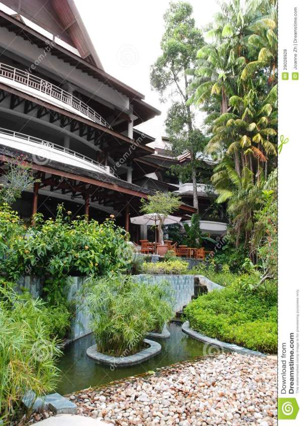 tropical resort lobby garden landscaping