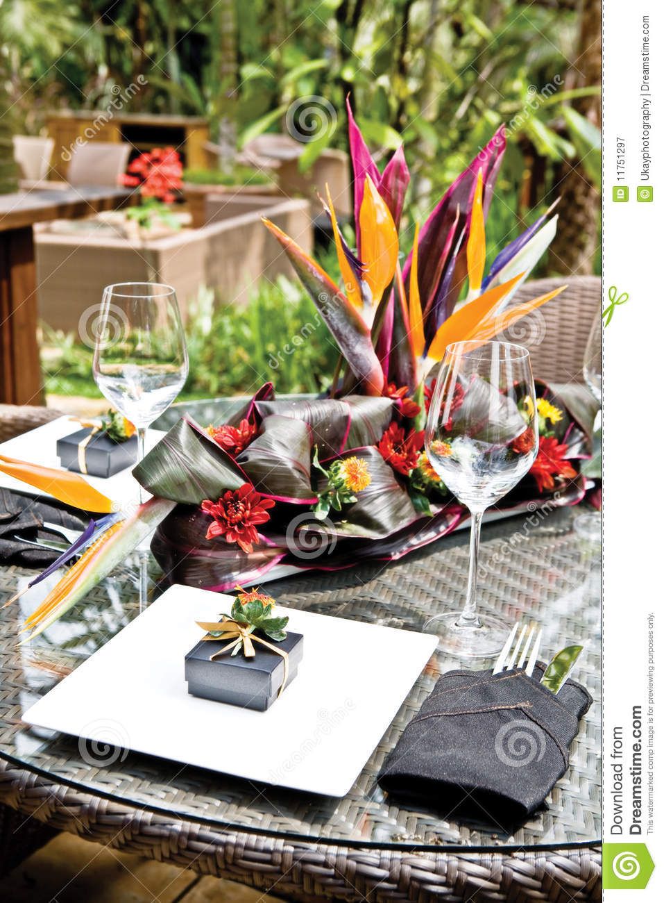 Tropical Resort Style Table Setup Royalty Free Stock