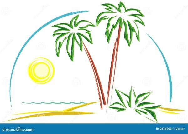 Tropical Scene Vector Stock Vector. Illustration Of