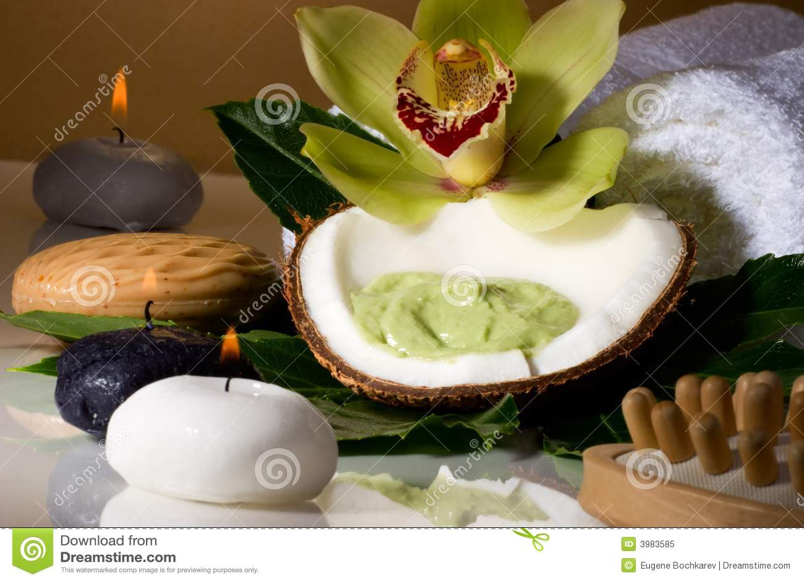 Tropical spa set stock image. Image of freshness. green - 3983585