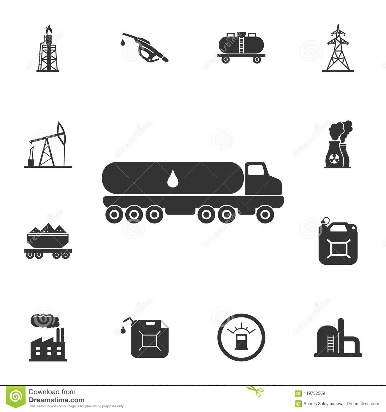 Truck Carrier Fuel Icon Simple Element Illustration