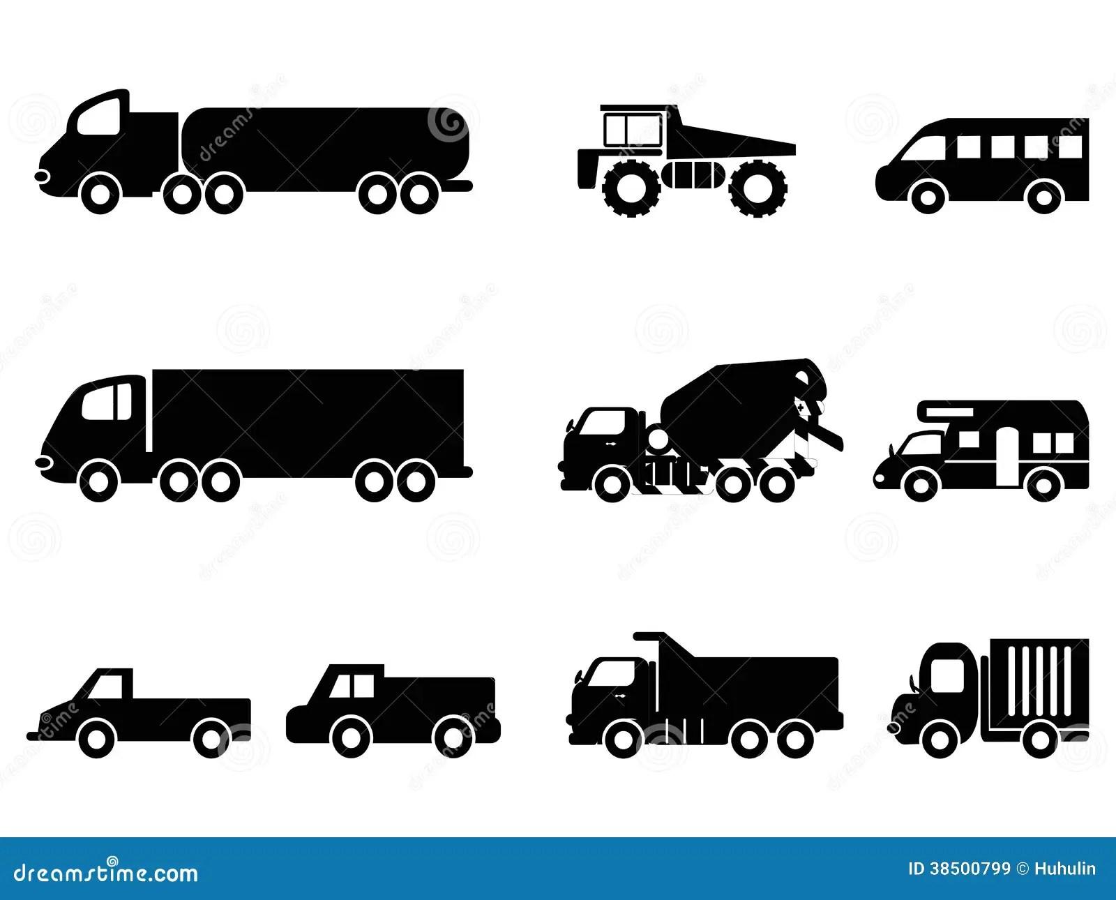 Truck Icons Set Stock Vector Illustration Of Semi Fuel