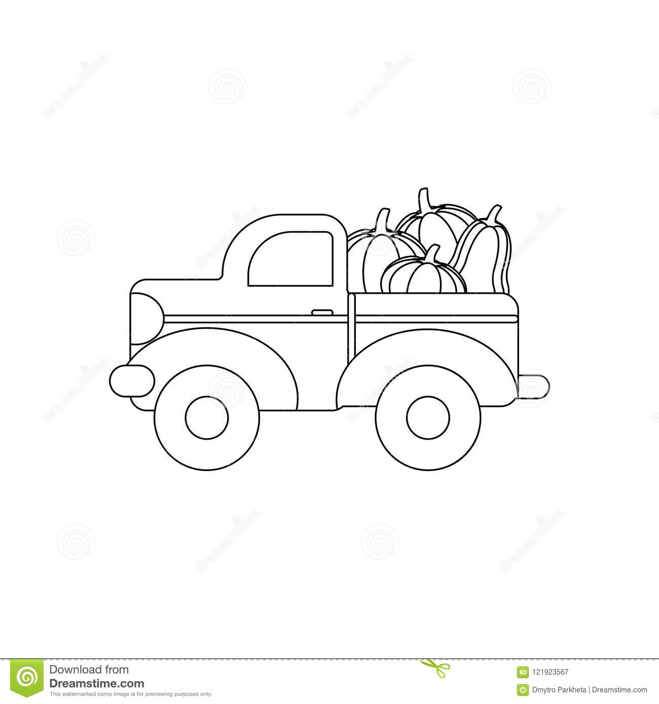 Truck With Pumpkins Coloring Page Stock Vector Illustration Of Vintage Thanksgiving 121923567