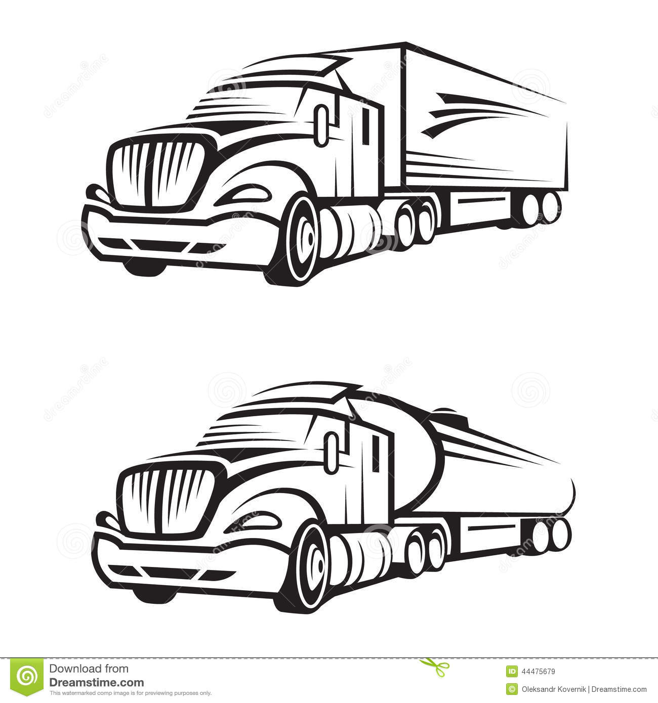 Truck And Tank Truck Stock Vector