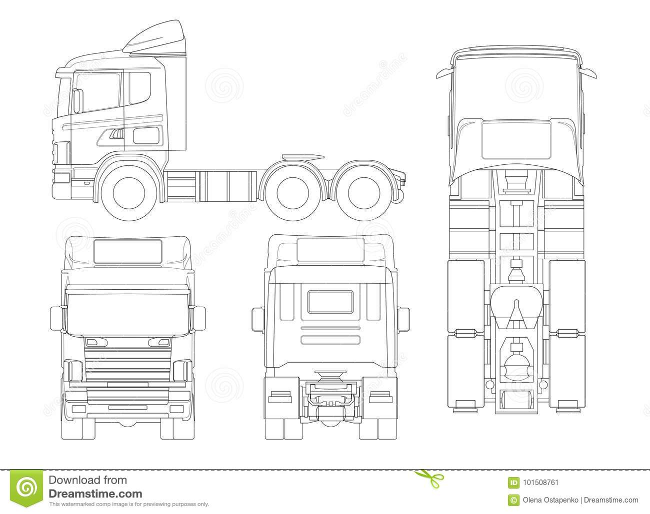 Truck Tractor Or Semi-trailer Truck In Outline Combination