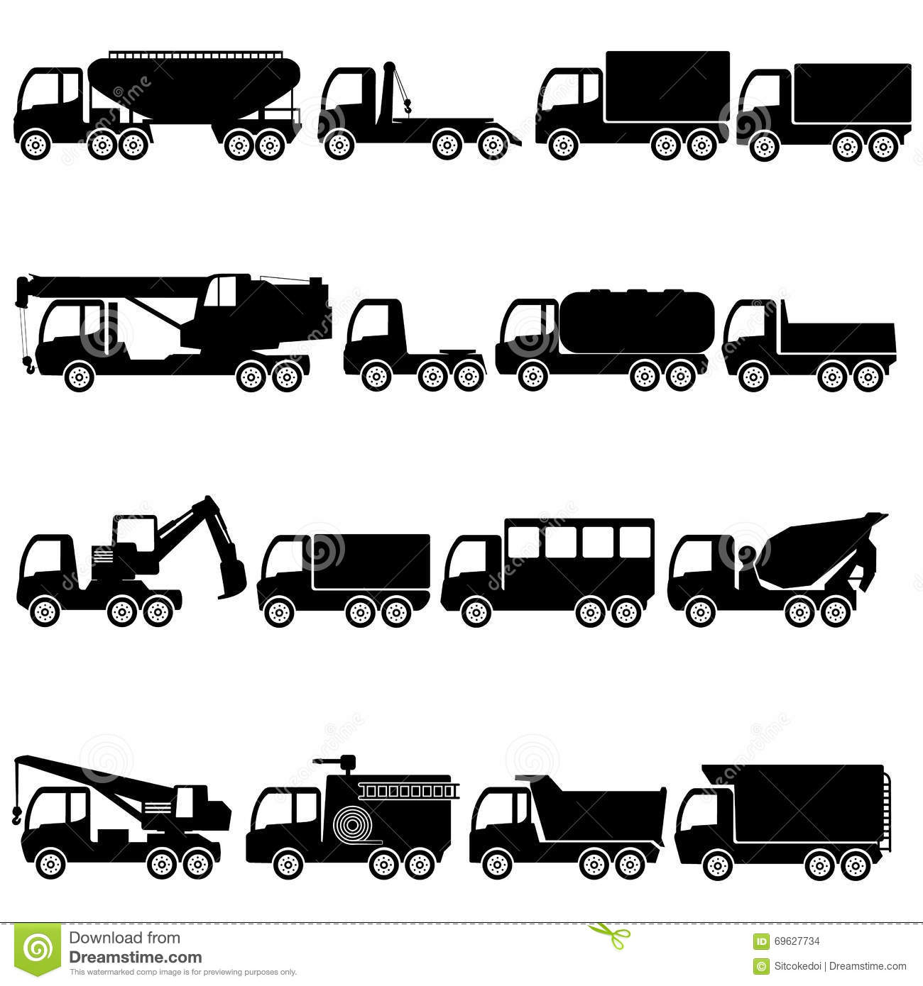 Trucks And Giant Vehicle Stock Vector