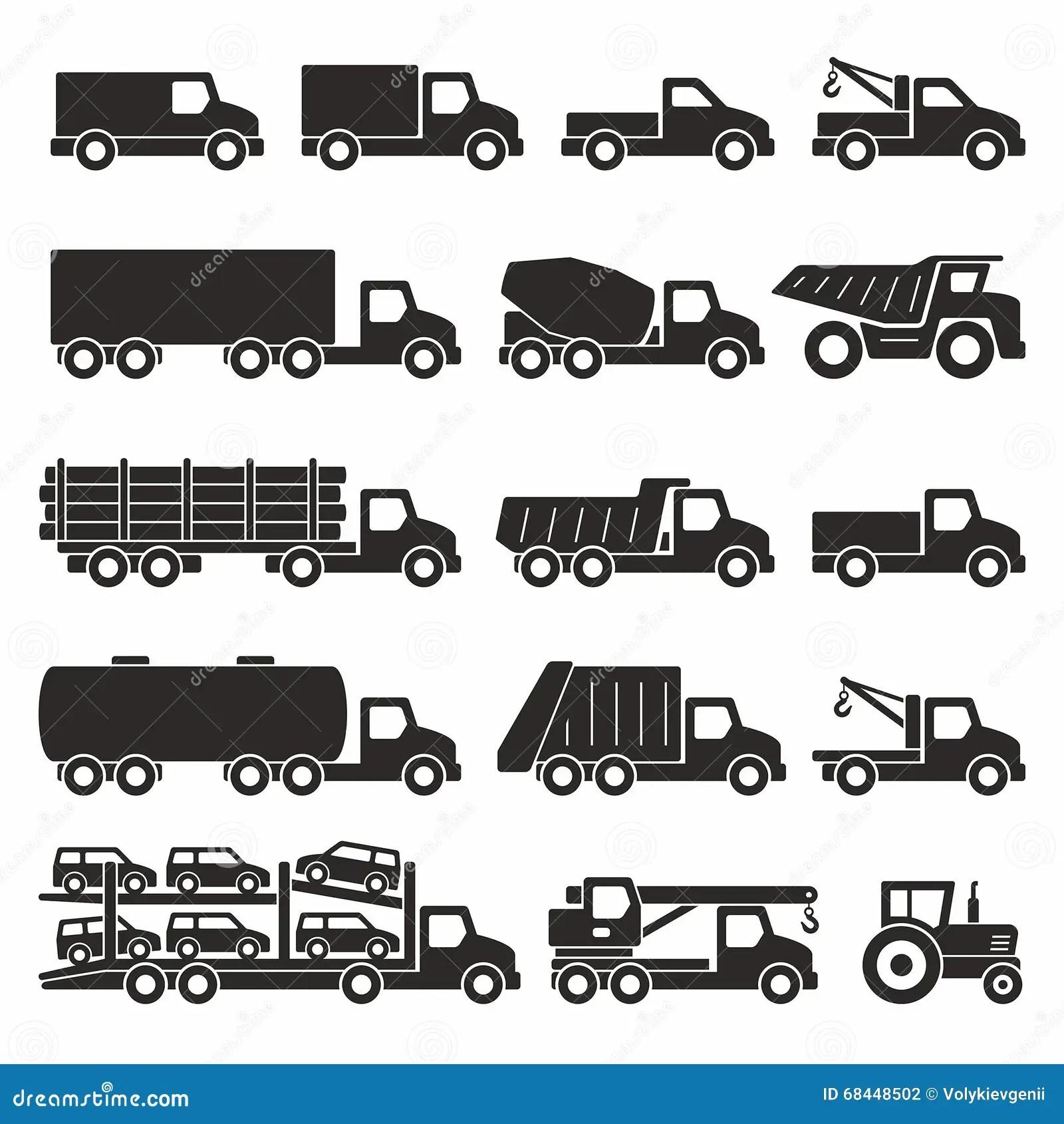 Trucks icons set stock vector. Illustration of mixer