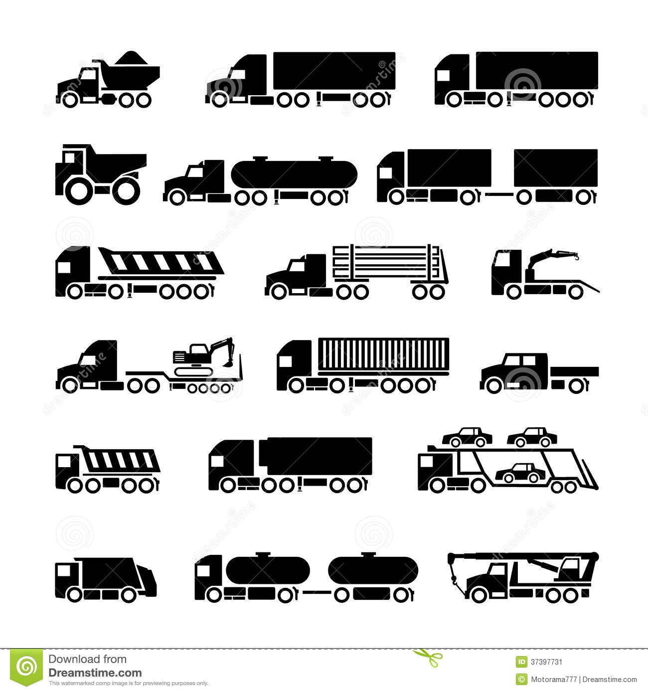 Trucks Trailers And Vehicles Icons Set Stock Vector