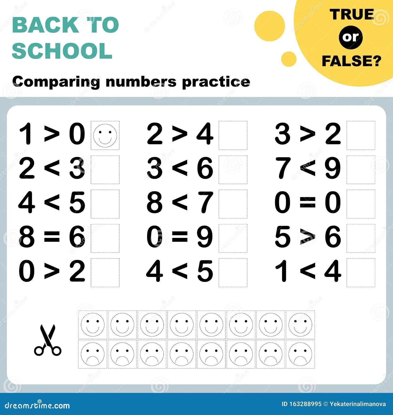 True Or False Comparing Numbers Worksheet Stock Vector