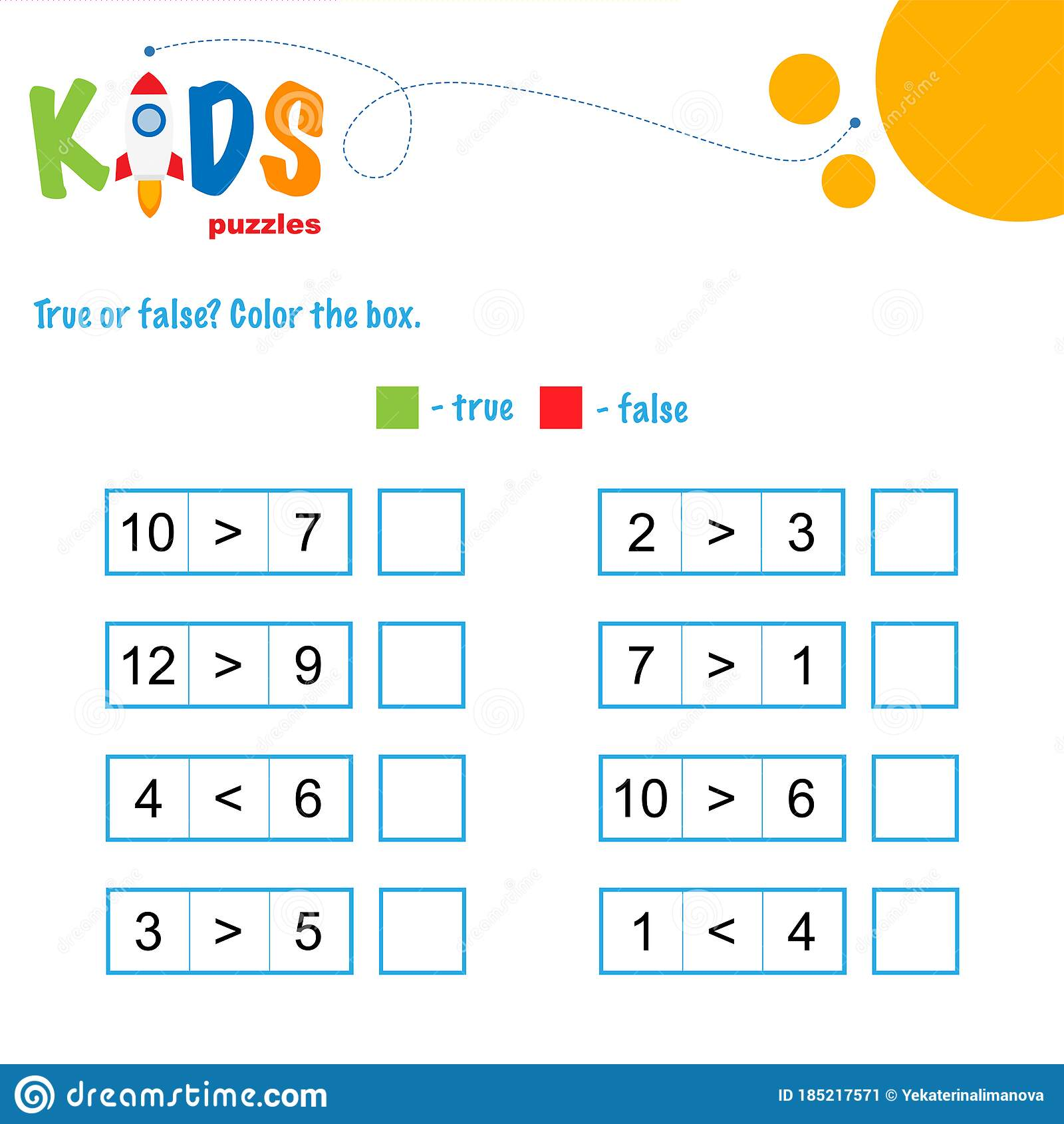 True Or False Math Worksheet Stock Vector