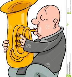 cartoon illustration of trumpeter musician playing the tuba wind instrument [ 1131 x 1300 Pixel ]