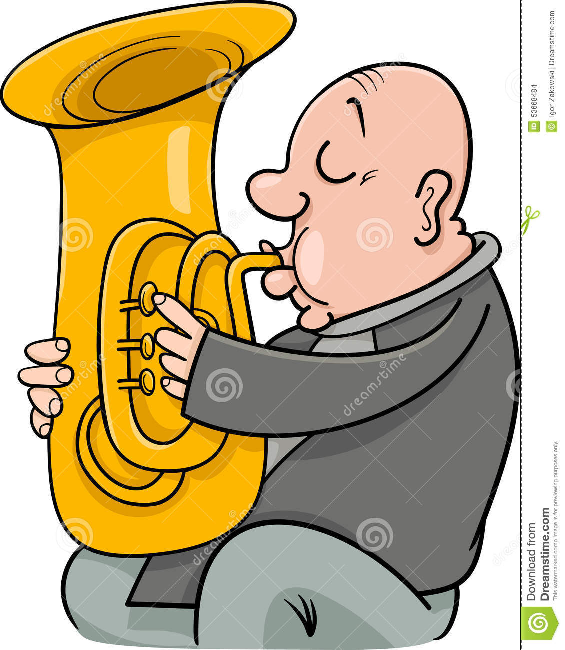 hight resolution of cartoon illustration of trumpeter musician playing the tuba wind instrument