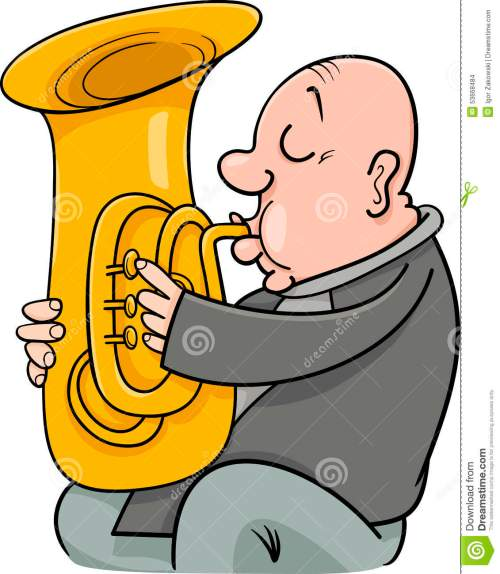 small resolution of cartoon illustration of trumpeter musician playing the tuba wind instrument