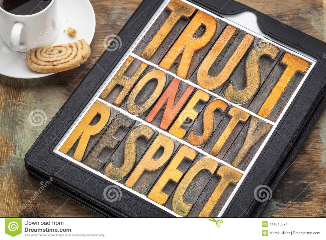Trust Honesty Respect Word Abstract In Wood Type Stock