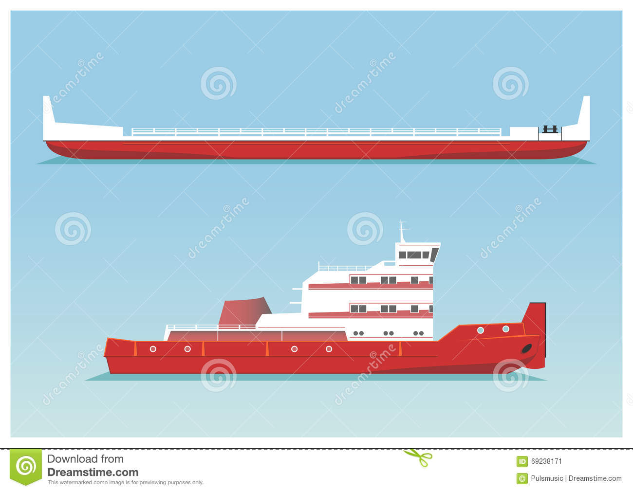hight resolution of tugboat and barge vector illustration eps 10 opacity stock illustration
