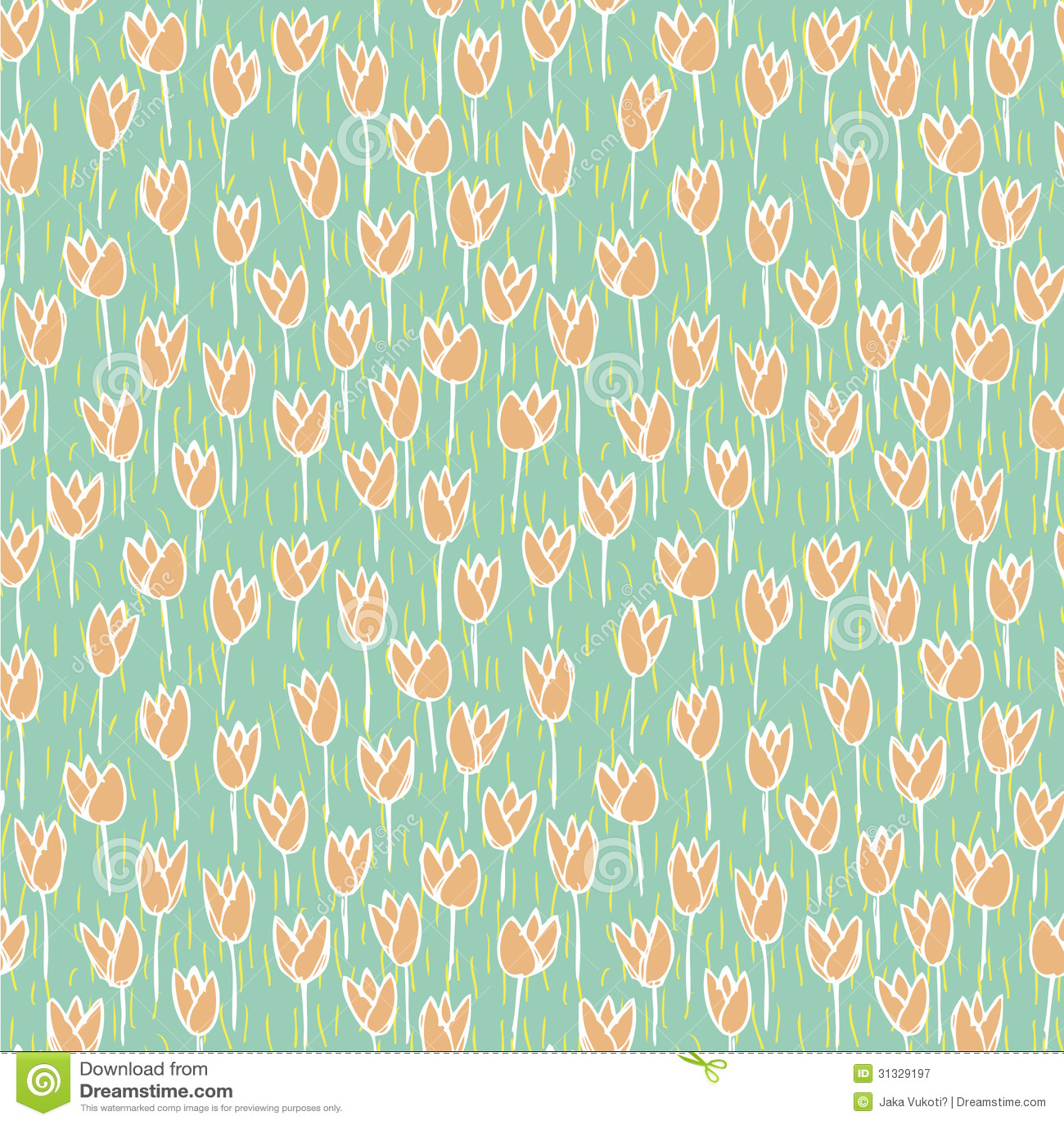 Cute Drawing Wallpaper Download Tulip Field Seamless Pattern Royalty Free Stock