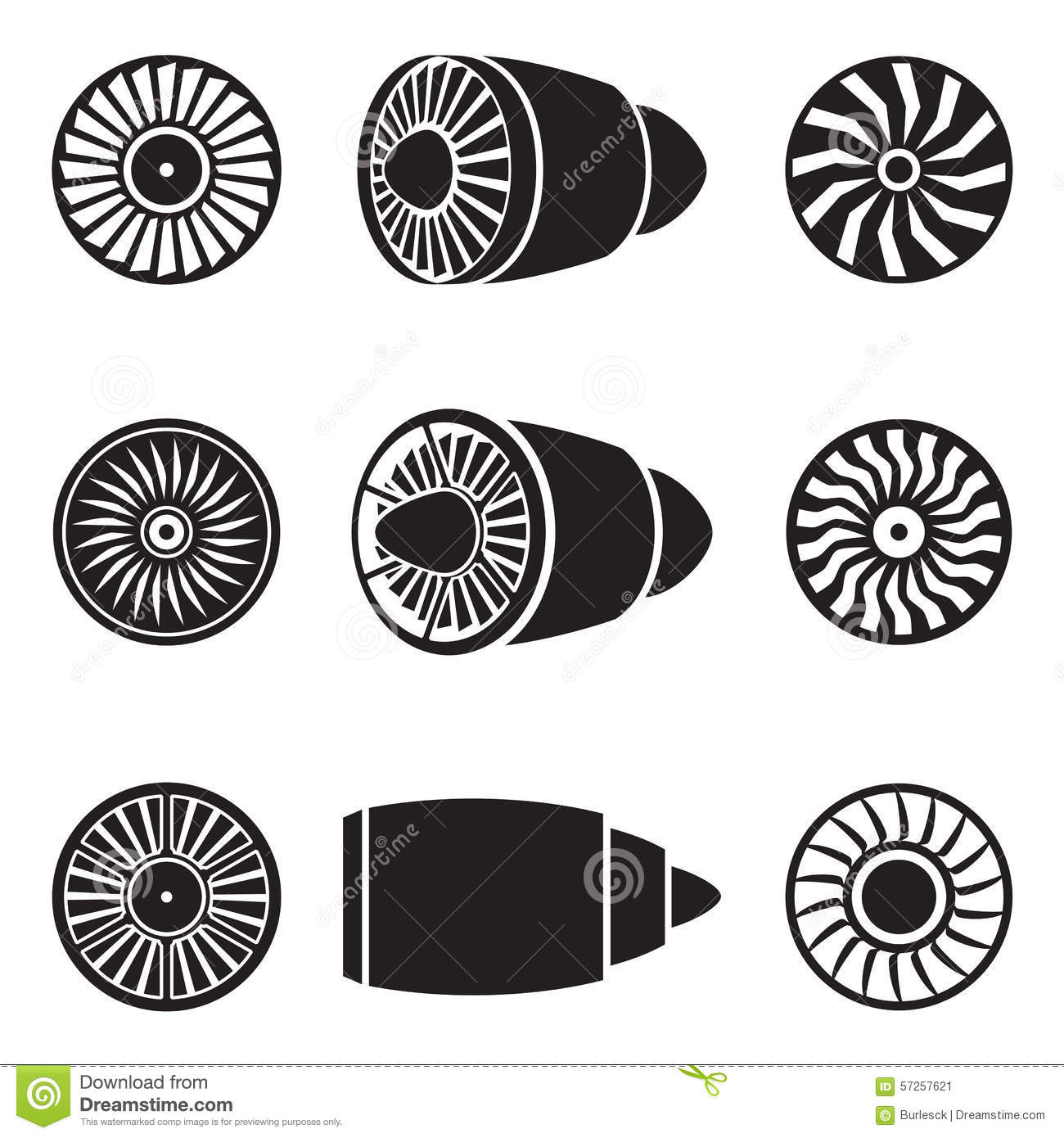 Turbines Icons Stock Vector