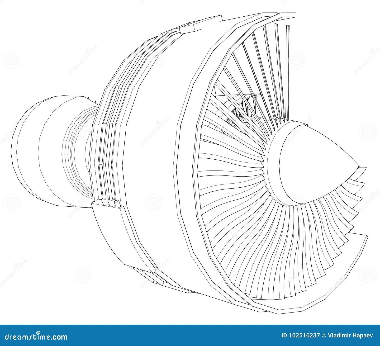 Turbo Jet Engine Aircraft Vector Line Illustration Stock
