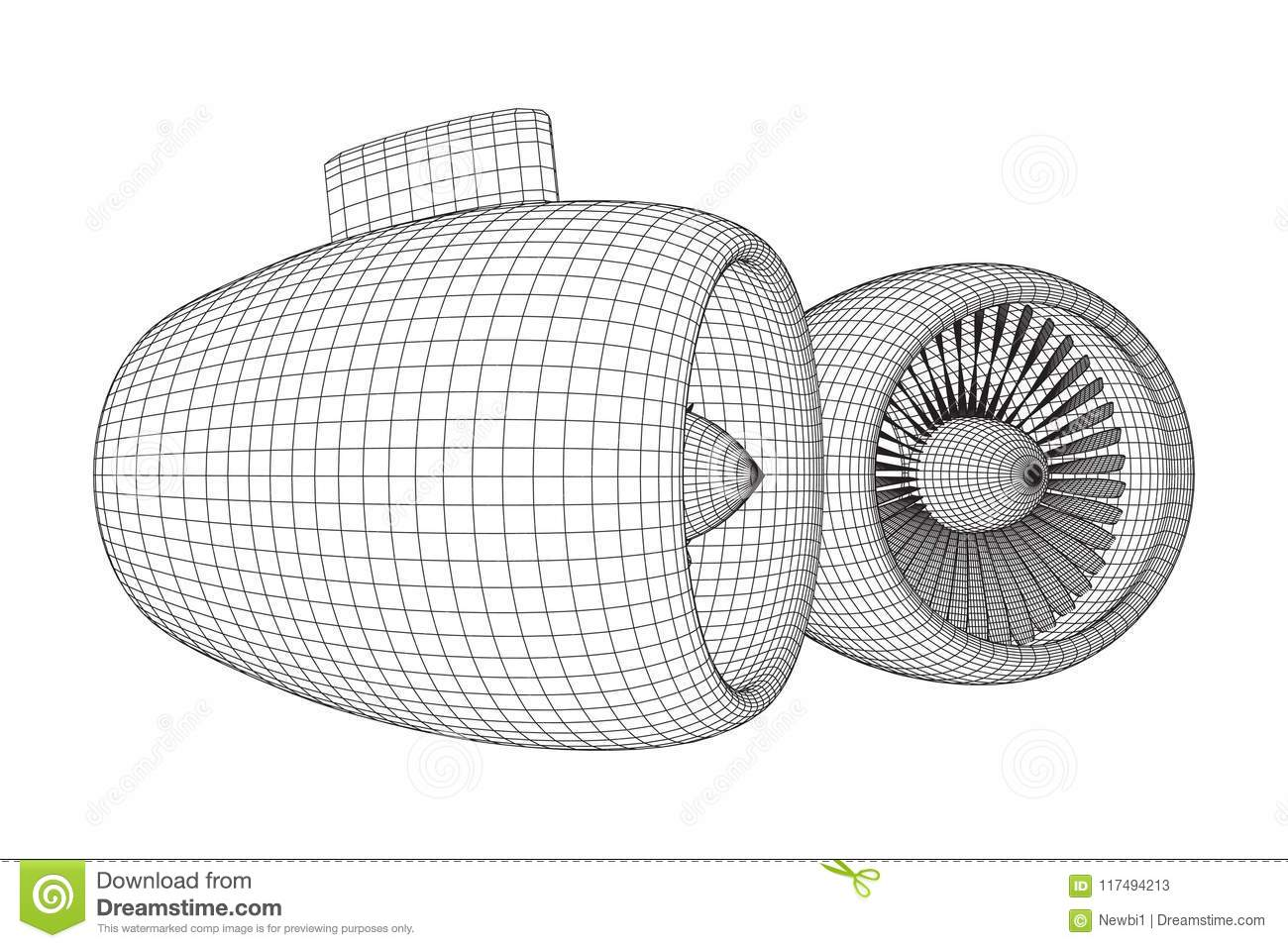 hight resolution of turbo jet plane engine wireframe low poly mesh vector illustration