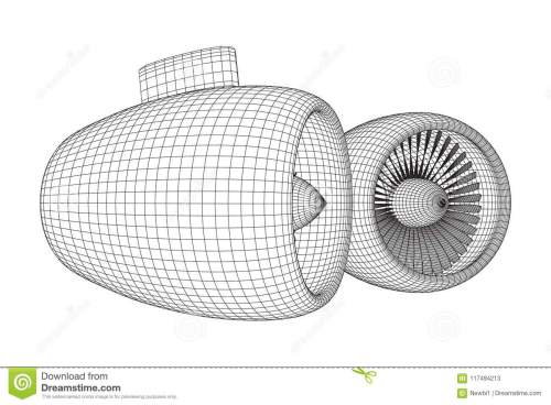 small resolution of turbo jet plane engine wireframe low poly mesh vector illustration