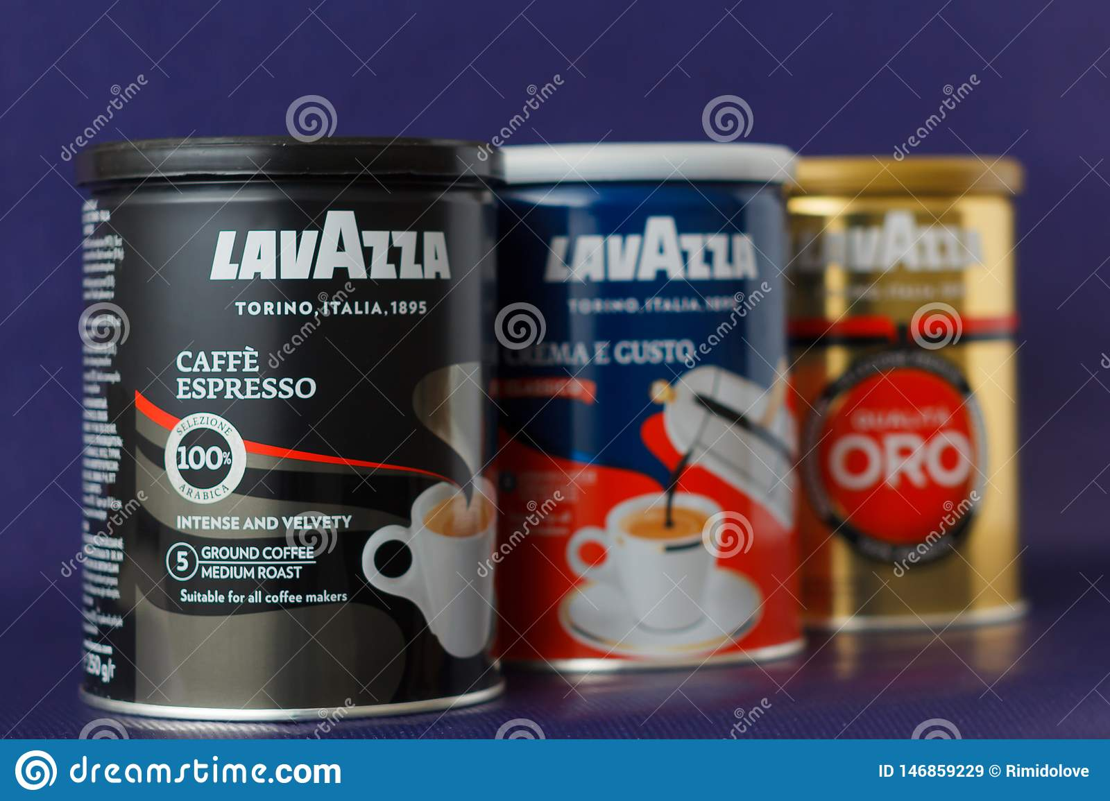 TURIN, ITALY - 2 May 2019: Lavazza Coffee Jar On The Violet Background. Different Kind And Taste Of Lavazza Coffee In Package, Editorial Stock ...