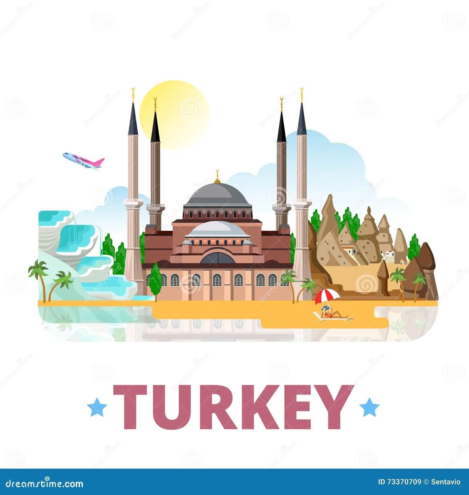 Turkey Country Design Template Flat Cartoon Style Stock