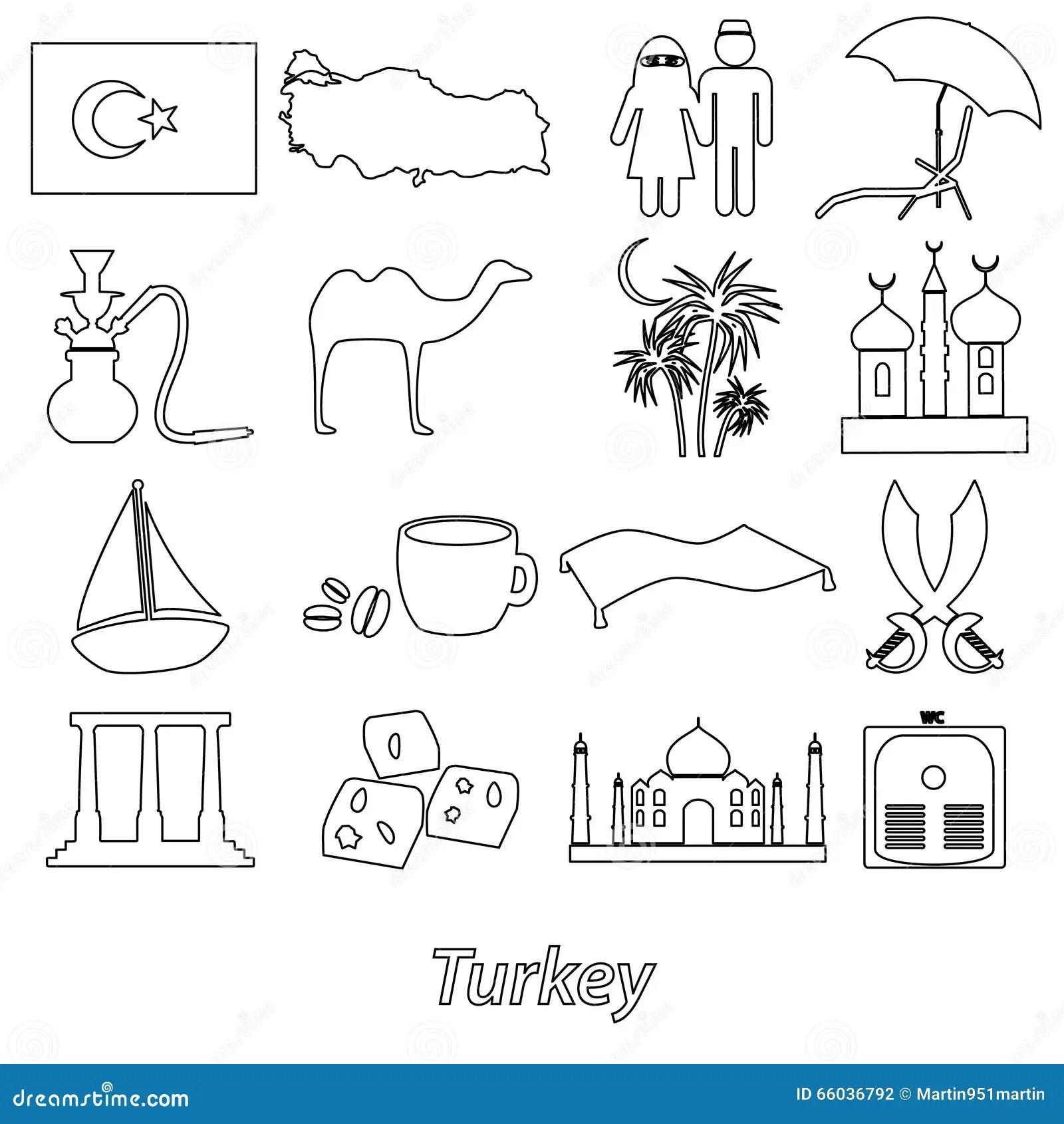 Turkey Country Theme Symbols Outline Icons Set Eps10 Stock