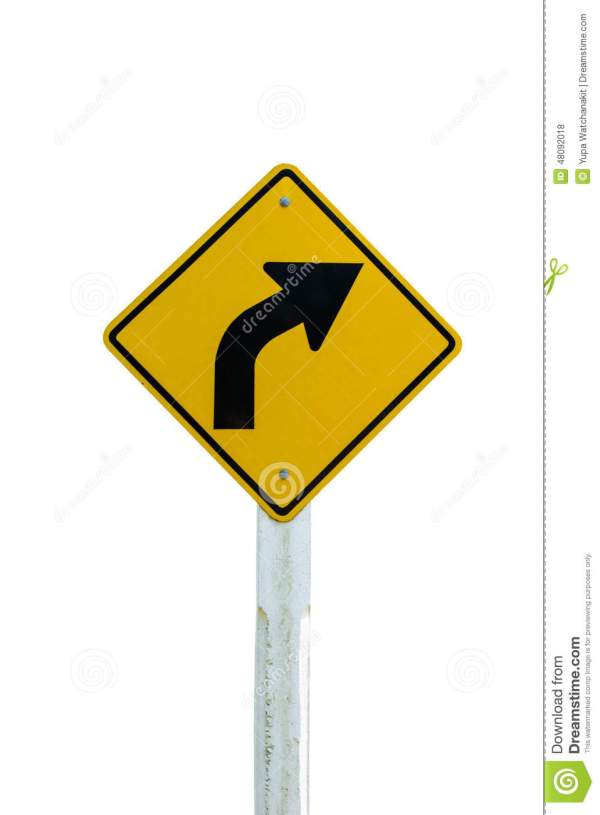 Turn Arrow Traffic Sign Isolated White Background