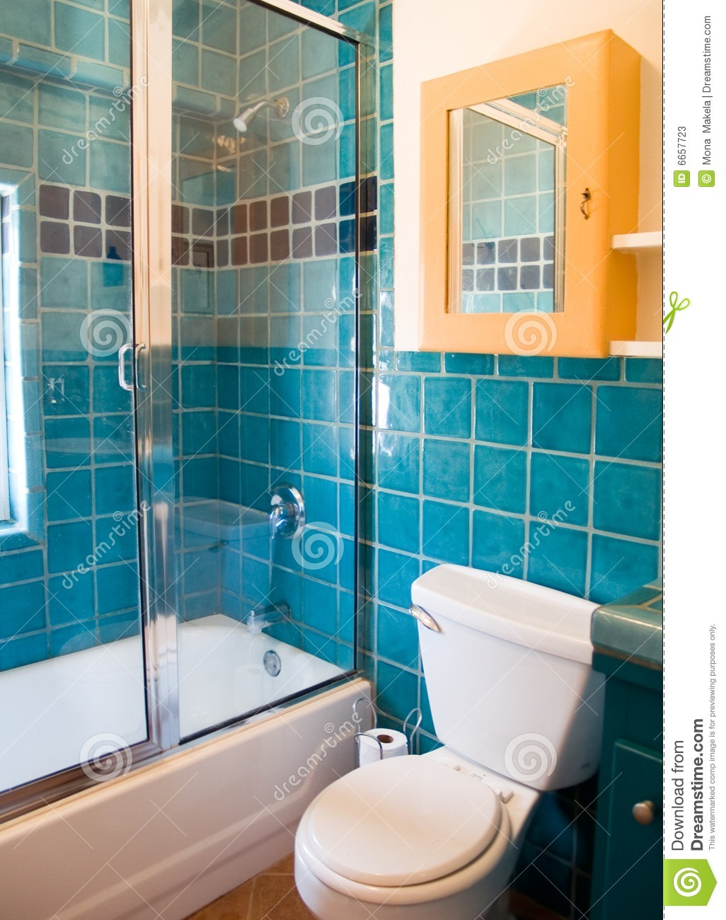 Turquoise Tile Work In A Bathroom Stock Image  Image of