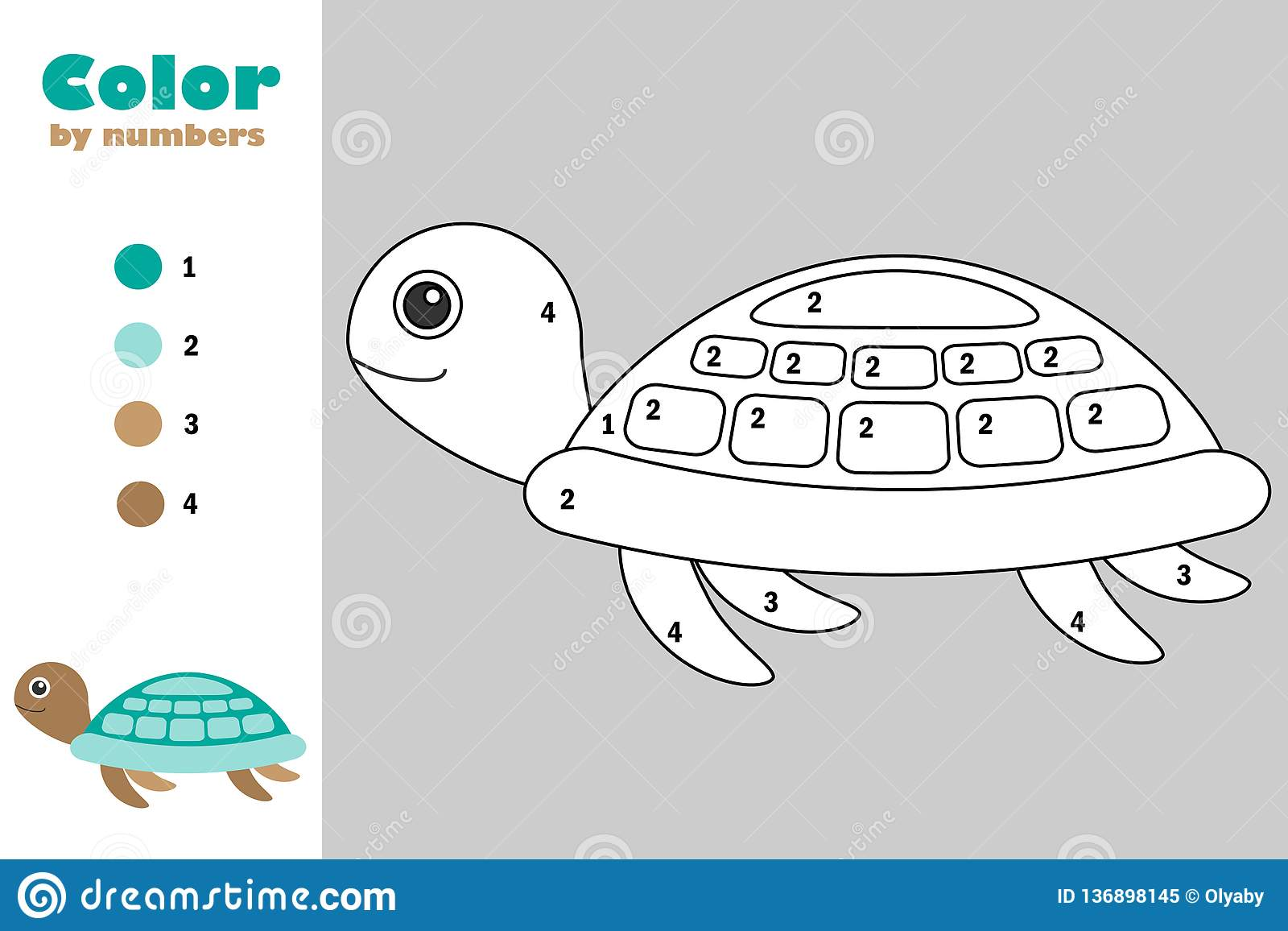 Turtle In Cartoon Style Color By Number Education Paper