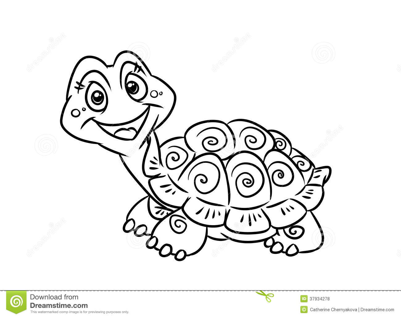 Turtle fun coloring pages stock illustration. Illustration