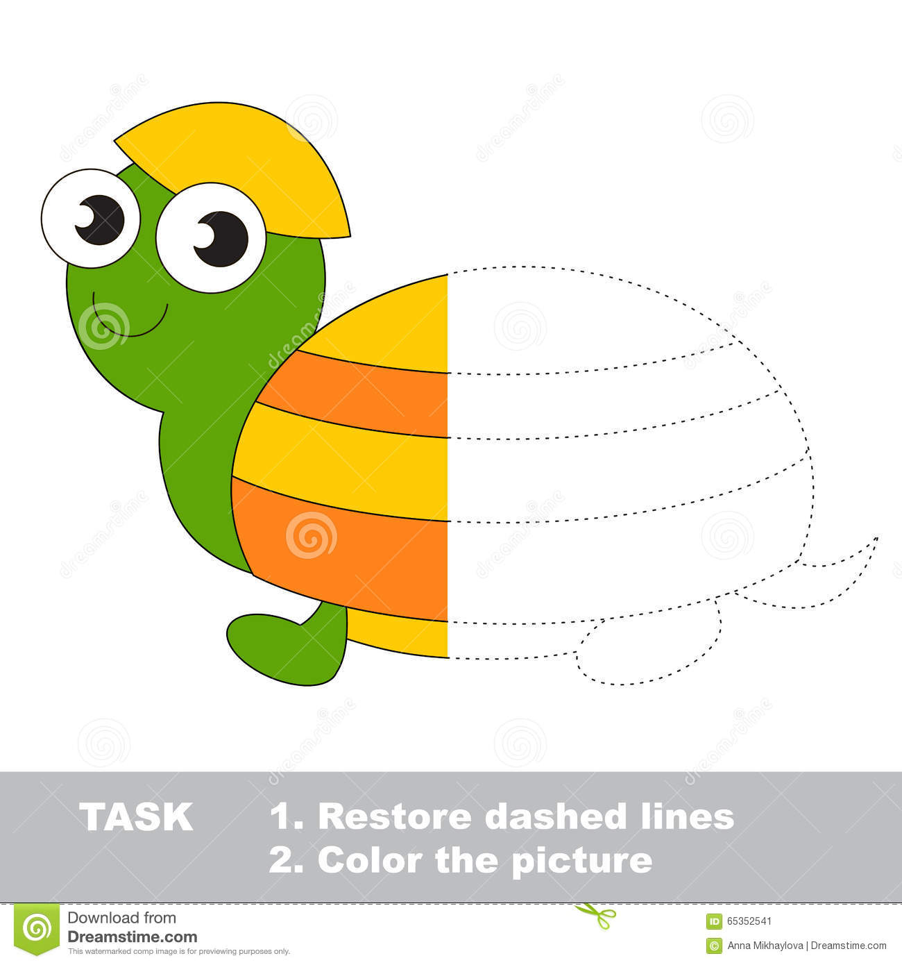 Turtle To Be Colored Vector Trace Game Stock Vector
