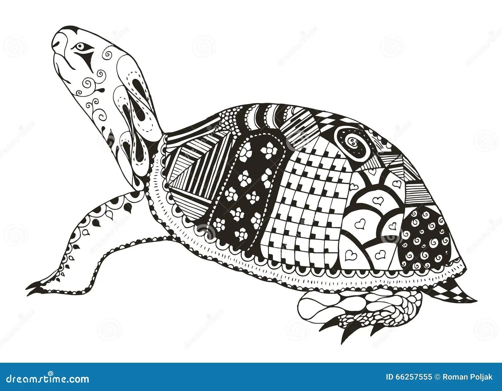 Turtle Zentangle Stylized Vector Illustration Freehand