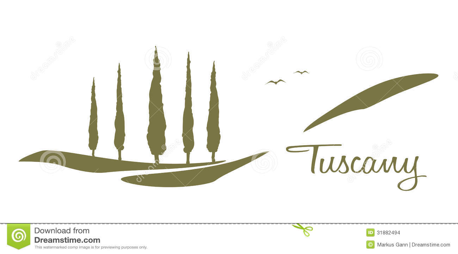 Tuscany graphic stock illustration Illustration of farm