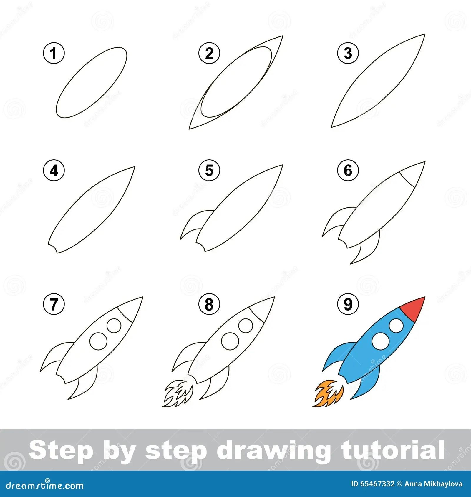 Tutorial Del Dibujo Como Dibujar A Toy Rocket Ilustracion