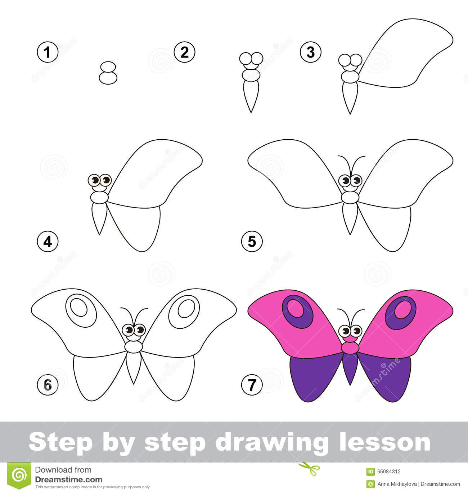 Tutorial Del Dibujo Como Dibujar Una Mariposa Ilustracion