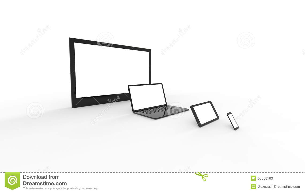 TV Screen, Notebook, Tablet, Smartphone Stock Illustration