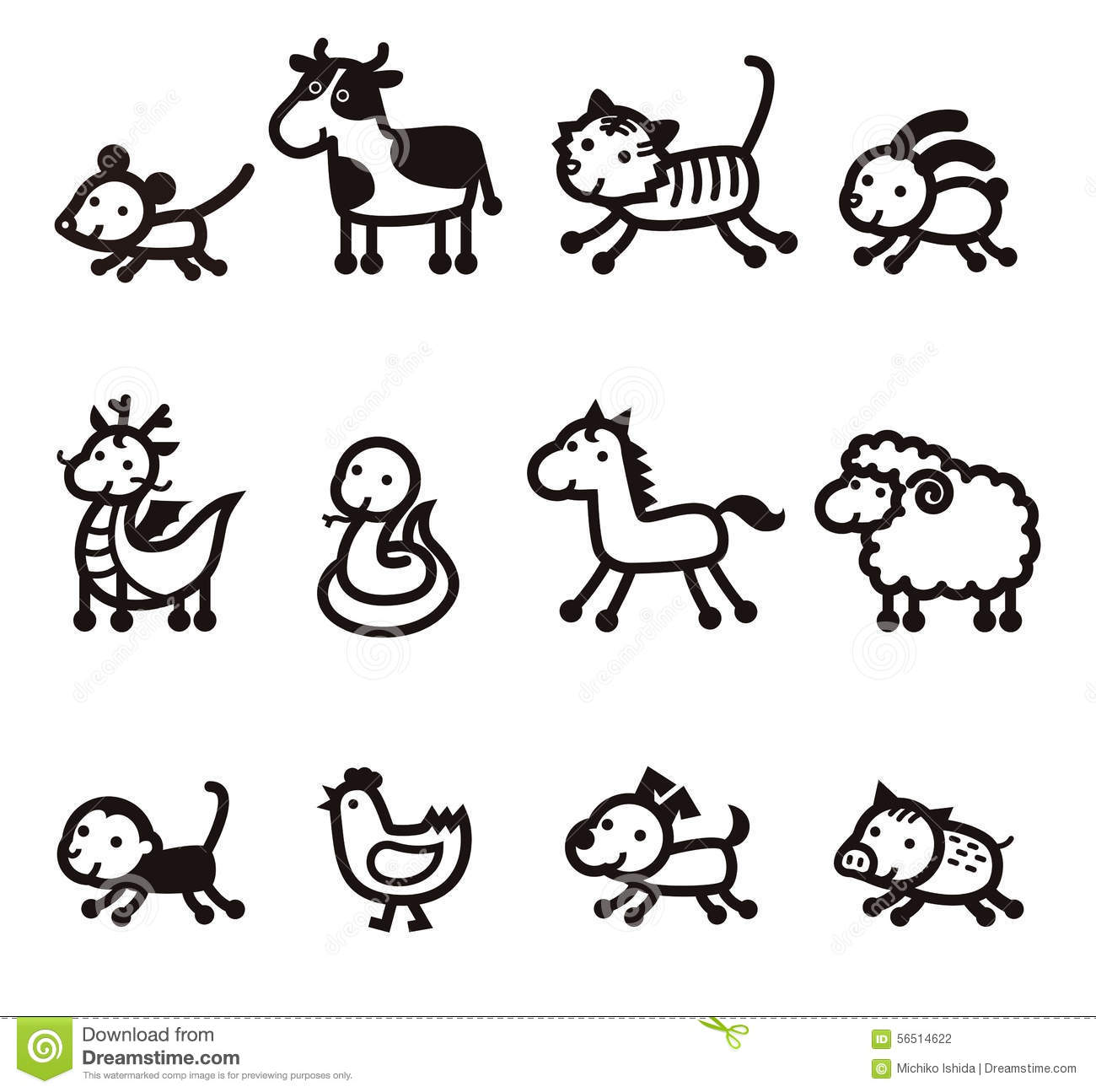 Twelve Animals Of Chinese Characters Cartoon Vector