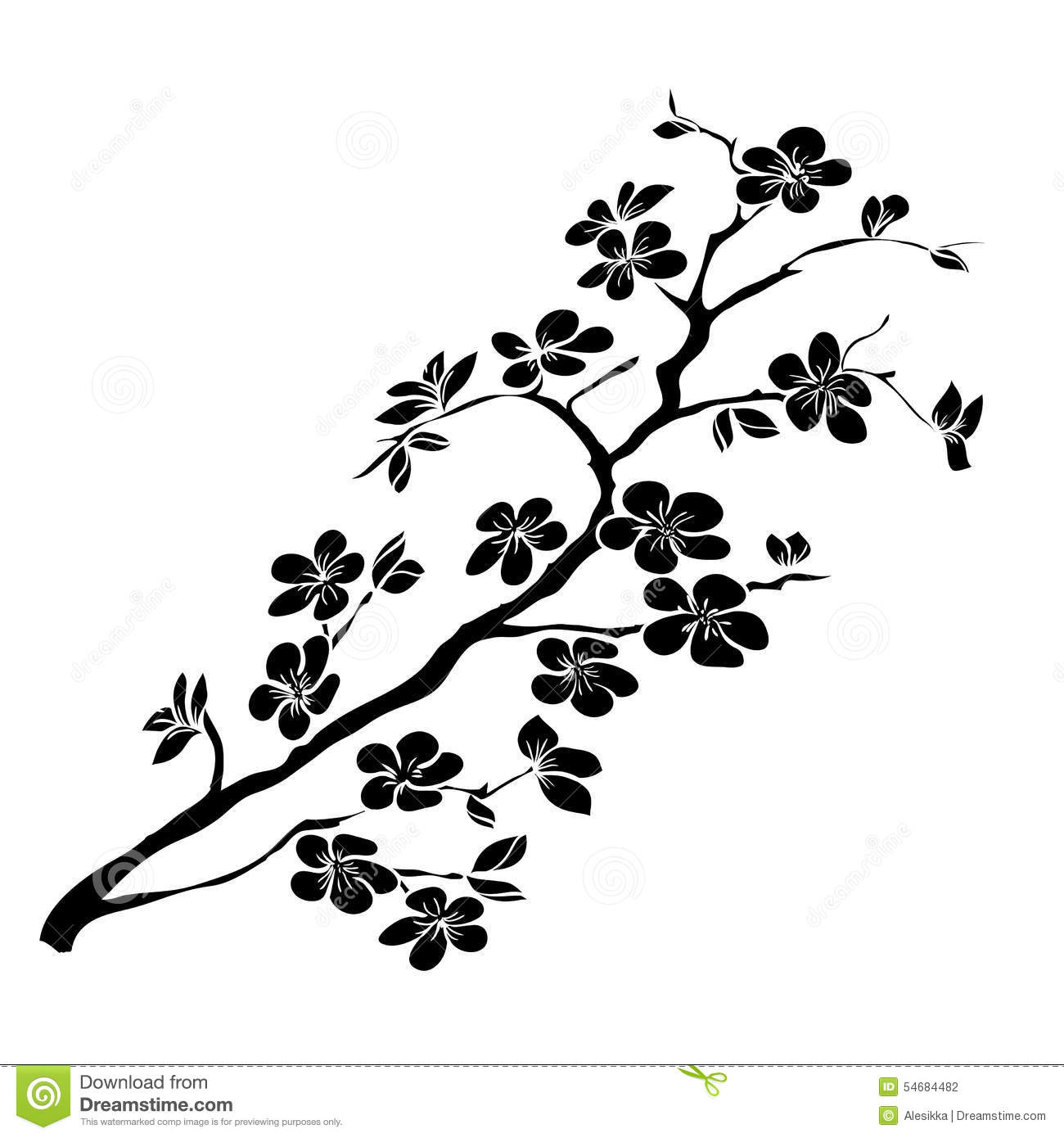 Twig Cherry Blossoms Stock Vector Illustration Of Icon