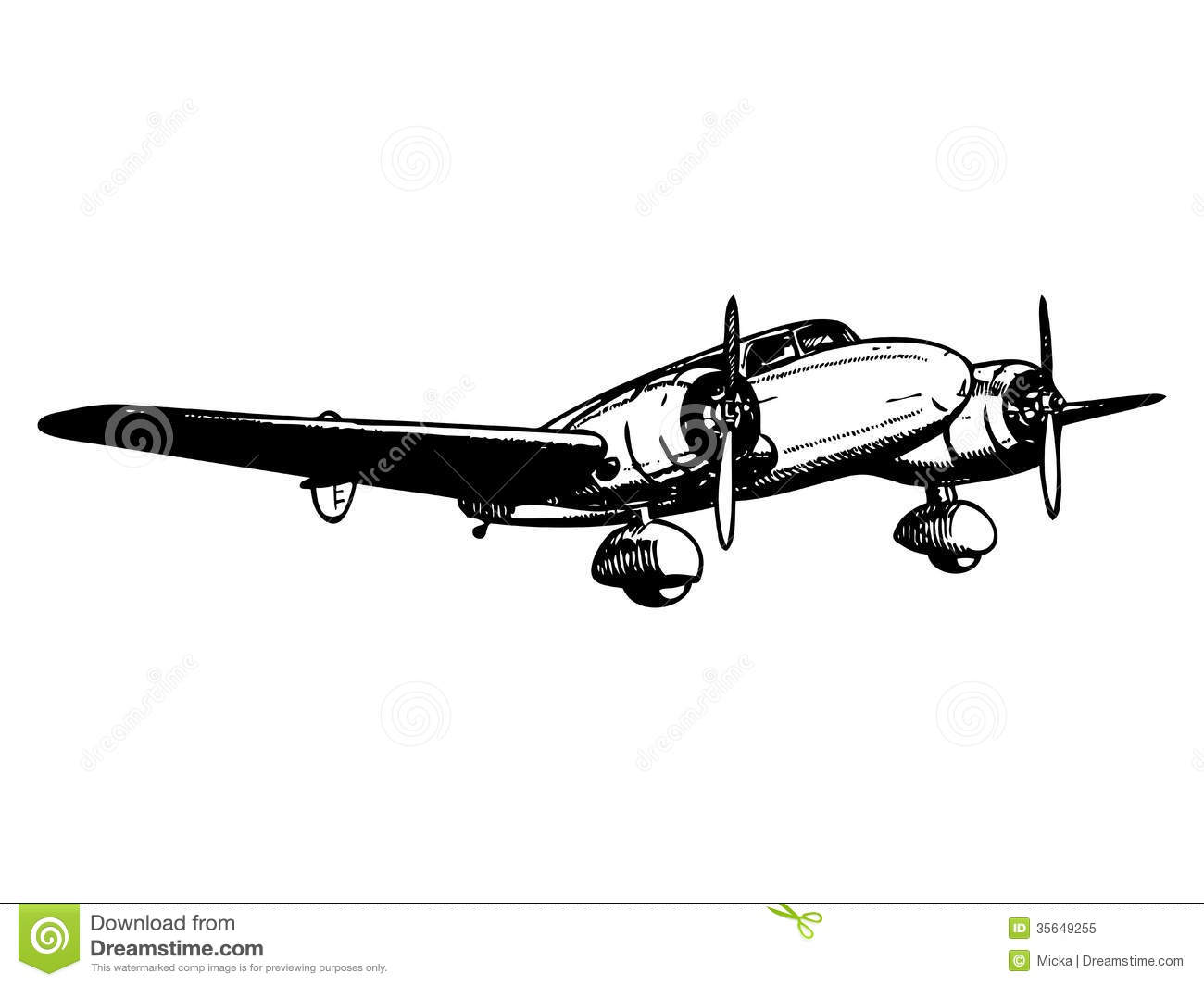 Twin Engine Passenger Plane Stock Vector