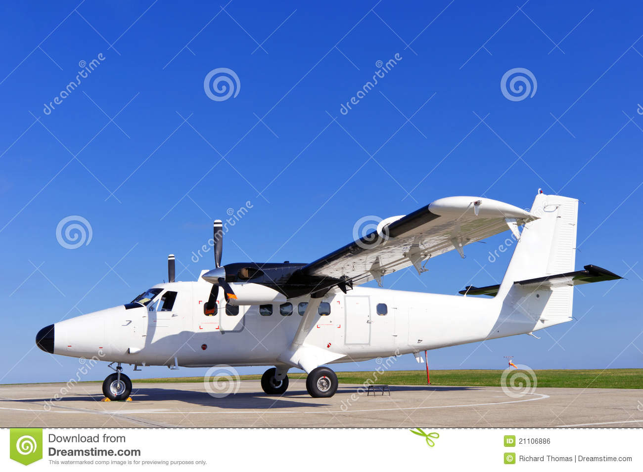 Twin Propeller Airplane On A Runway Royalty Free Stock Image  Image 21106886
