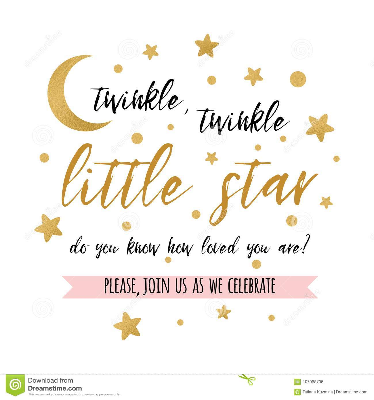 https www dreamstime com twinkle little star text gold moon girl boy baby shower card invitation cute template vector illustration banner image107968736
