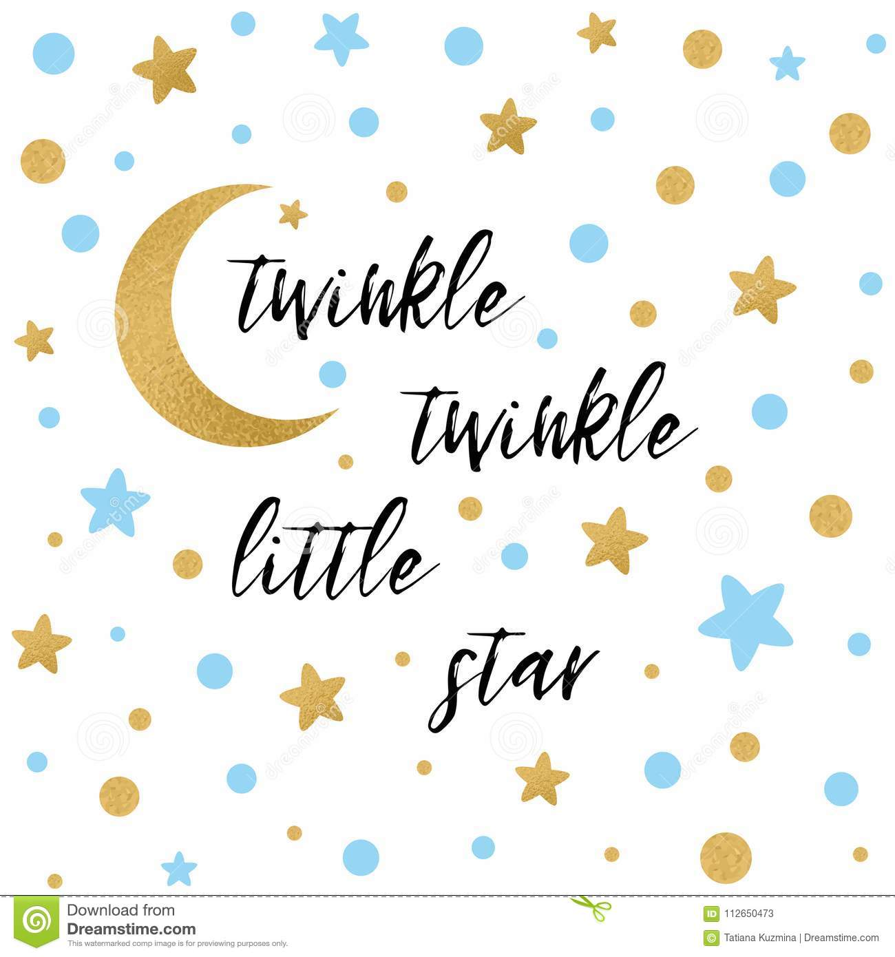 https www dreamstime com twinkle twinkle little star text cute gold blue star moon boy baby shower card template vector illustration banner image112650473