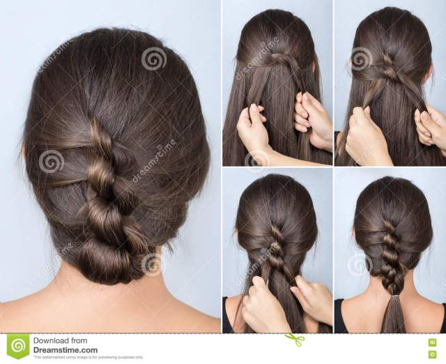 twisted hairstyle tutorial stock image. image of medium