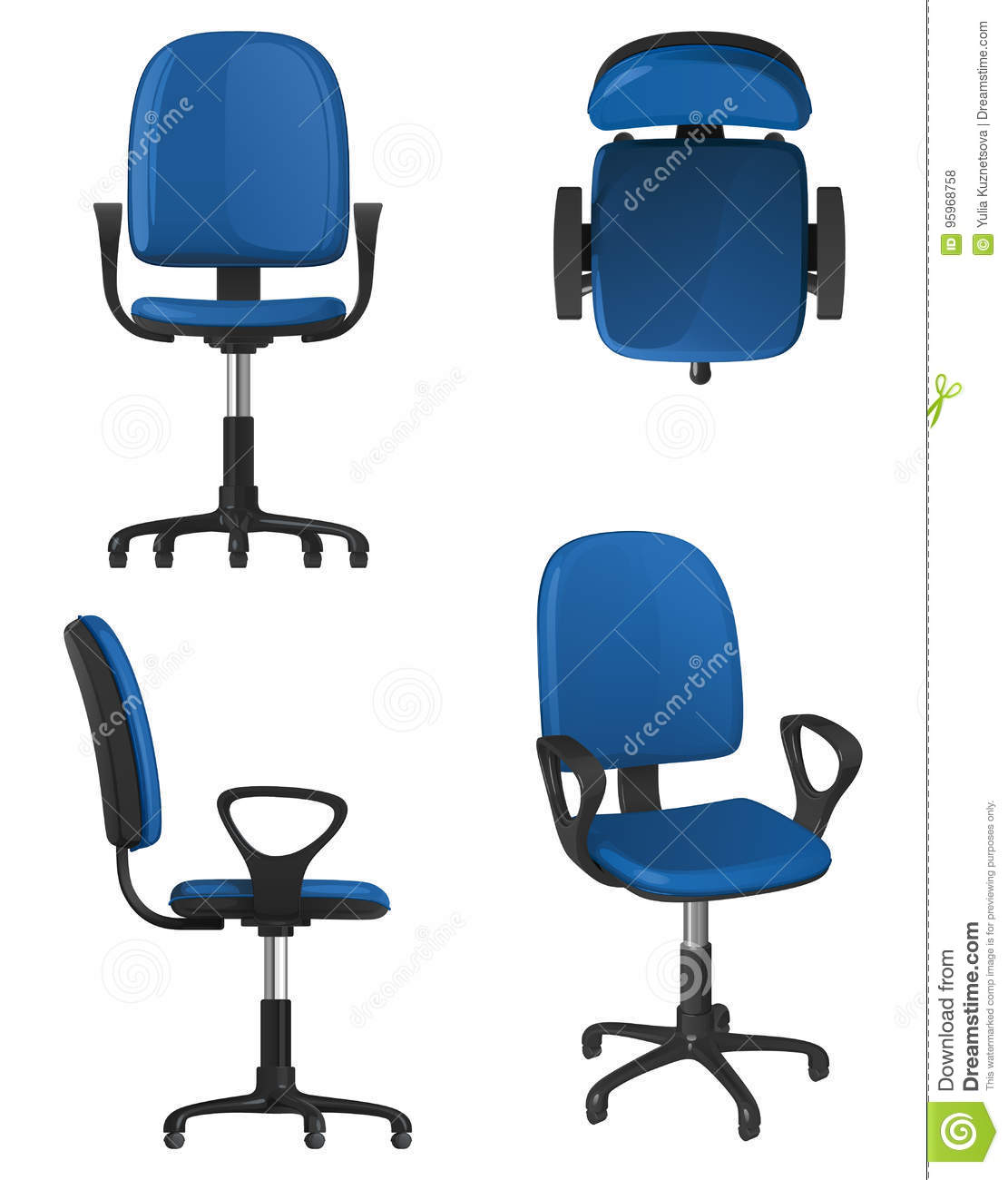 A Twisting Office Chair On Wheels With A Blue Upholstery Seat And Backrest Stock Vector Illustration Of Furniture View 95968758