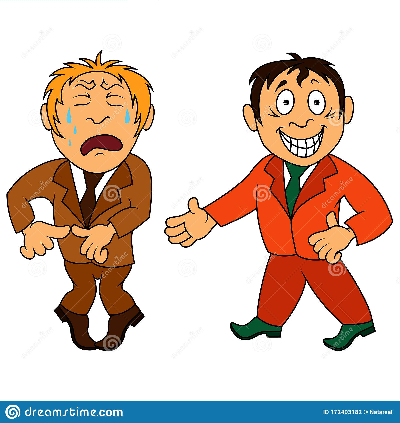Two Amusing And Funny Cartoon Men Stock Vector - Illustration of nose. crying: 172403182
