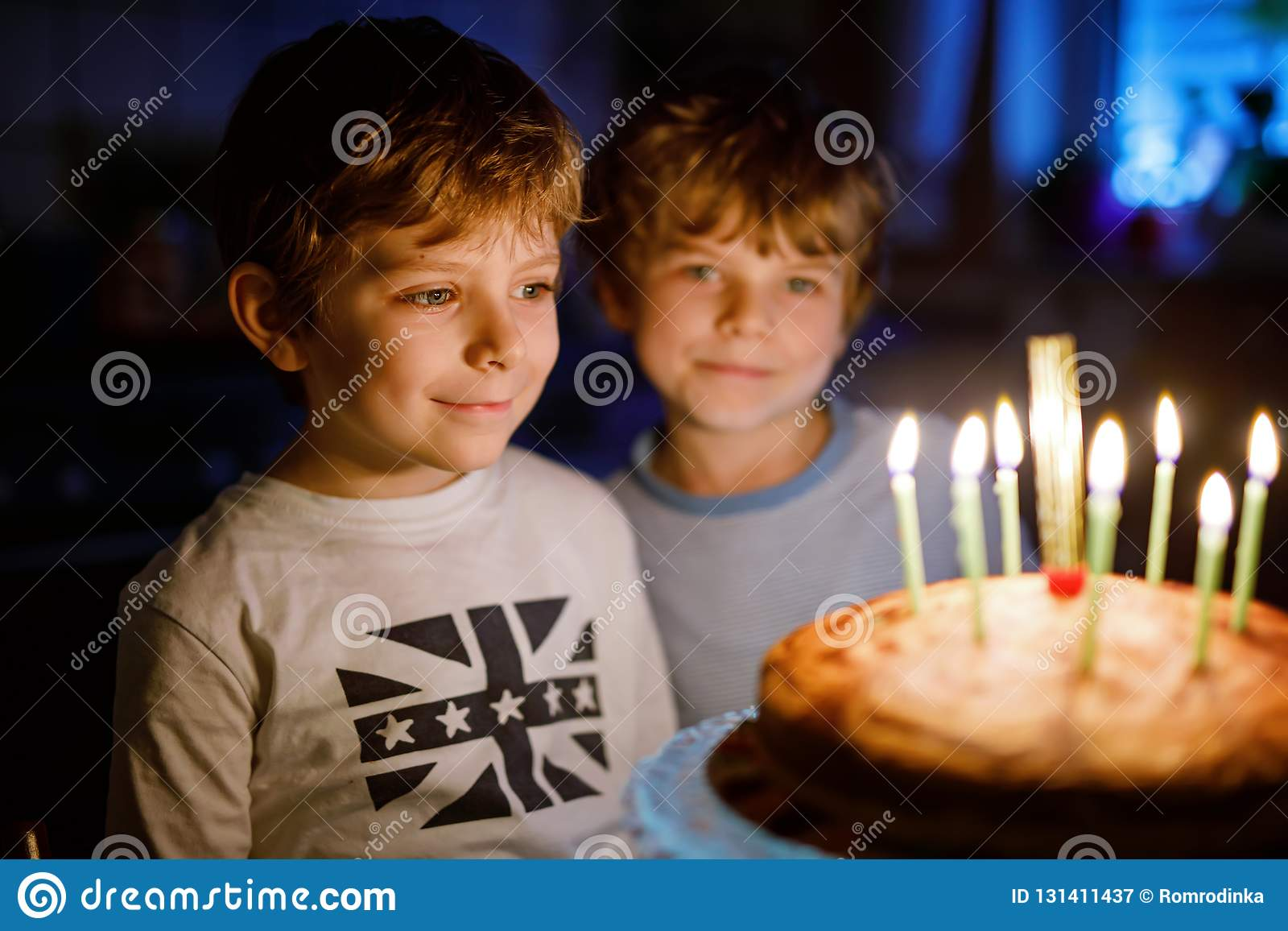 Two Beautiful Kids Little Preschool Boys Celebrating