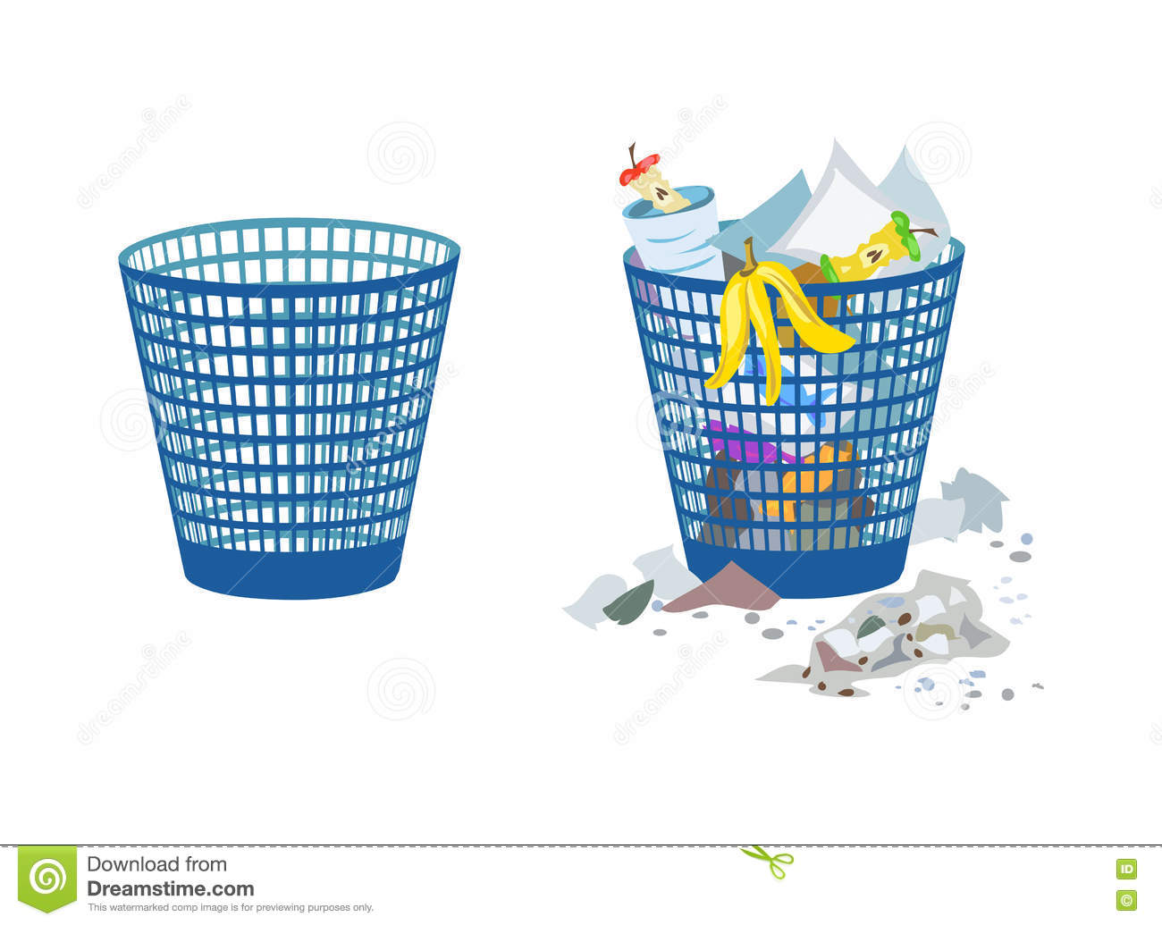 Two Bins Full And Empty Stock Vector Illustration Of