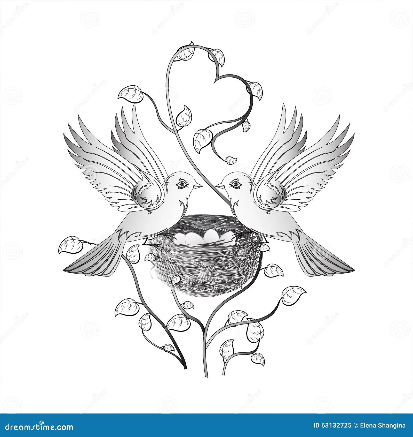 Love Birds Nest Drawing